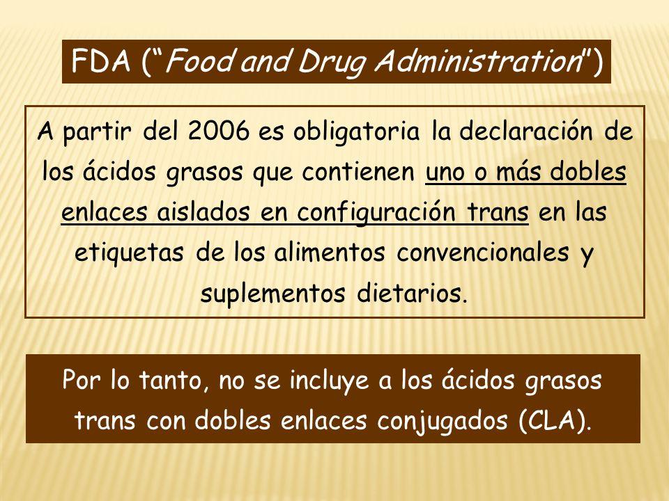 FDA (Food and Drug Administration) A partir del 2006 es obligatoria la declaración de los ácidos grasos que contienen uno o más dobles enlaces aislado