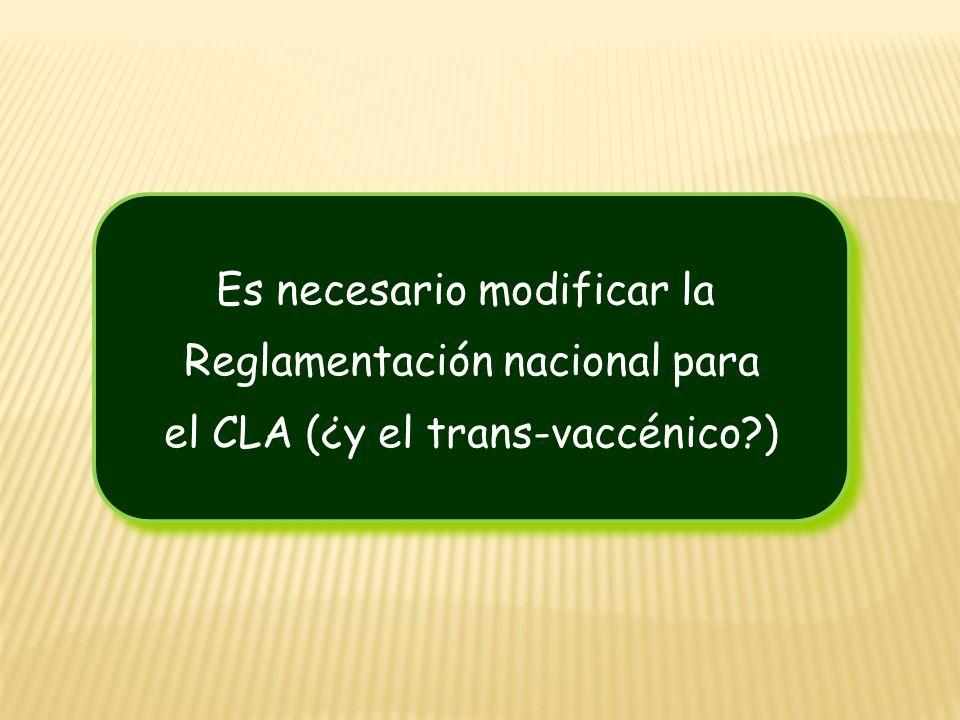 Es necesario modificar la Reglamentación nacional para el CLA (¿y el trans-vaccénico?) Es necesario modificar la Reglamentación nacional para el CLA (