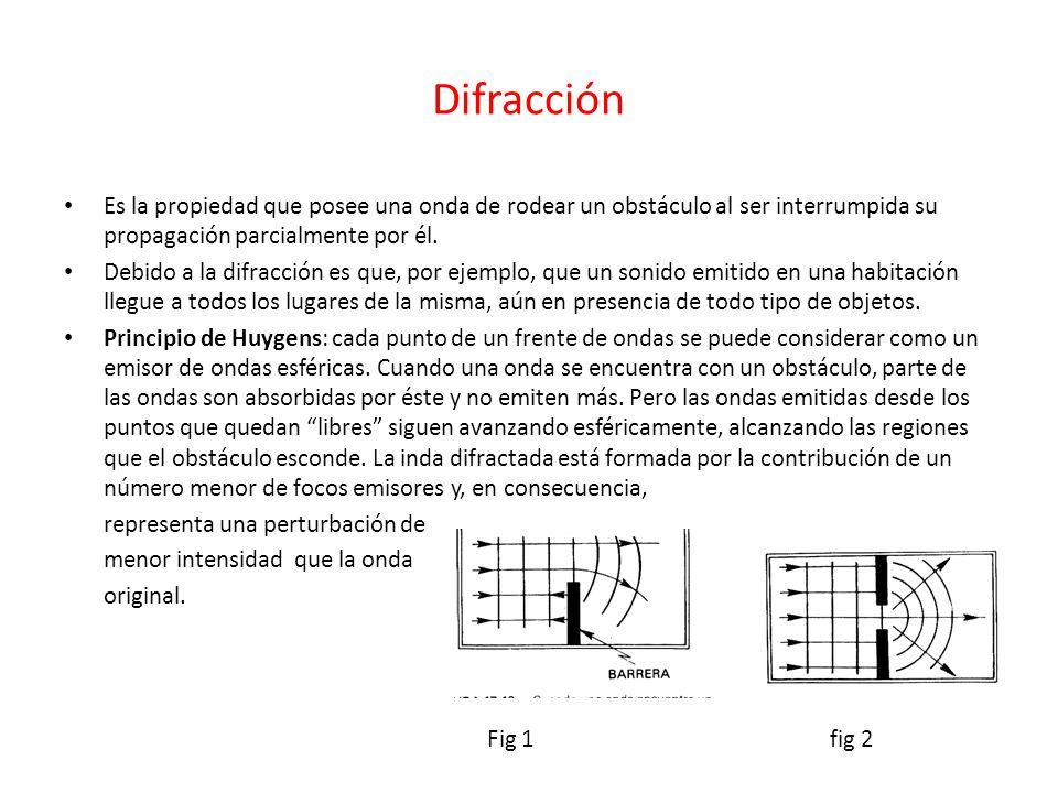 Difracción Es la propiedad que posee una onda de rodear un obstáculo al ser interrumpida su propagación parcialmente por él.