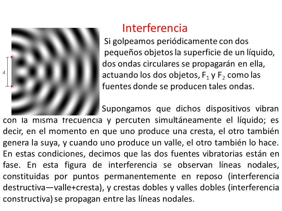 Interferencia Si golpeamos periódicamente con dos pequeños objetos la superficie de un líquido, dos ondas circulares se propagarán en ella, actuando los dos objetos, F 1 y F 2 como las fuentes donde se producen tales ondas.