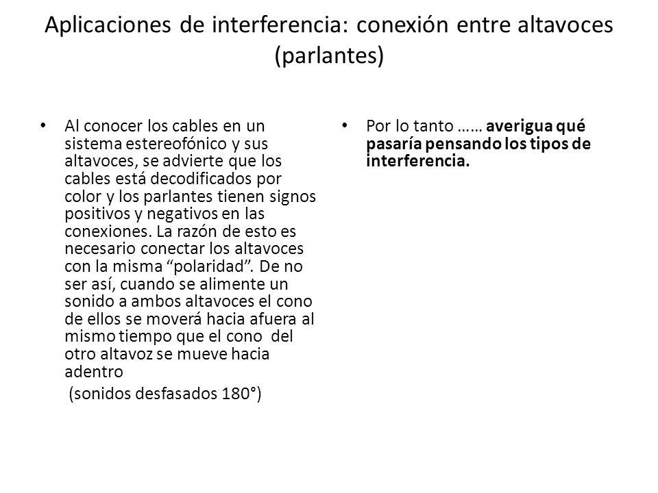 Aplicaciones de interferencia: conexión entre altavoces (parlantes) Al conocer los cables en un sistema estereofónico y sus altavoces, se advierte que los cables está decodificados por color y los parlantes tienen signos positivos y negativos en las conexiones.