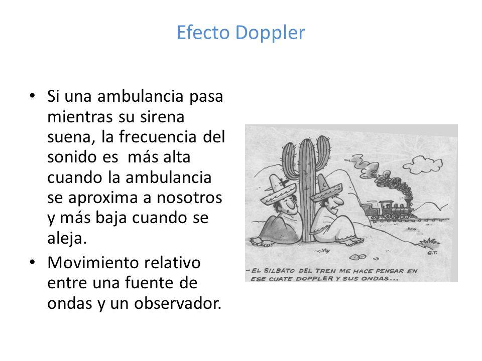 Efecto Doppler Si una ambulancia pasa mientras su sirena suena, la frecuencia del sonido es más alta cuando la ambulancia se aproxima a nosotros y más baja cuando se aleja.