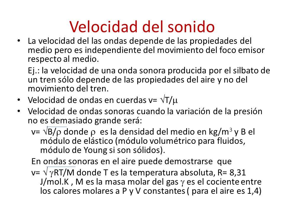 Tabla I Valores del módulo de elasticidad para sólidos y líquidos Medio B (N/m 2 ) Agua2,2 x 10 9 Mercurio30 x 10 9 Alcohol etílico1,1 x 10 9 Acero1,9 a 2,2 x 10 11 Cobre1,0 a 1,2 x 10 11 Plomo1,5 x 10 10
