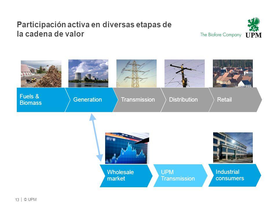 Participación activa en diversas etapas de la cadena de valor Fuels & Biomass Industrial consumers Wholesale market GenerationTransmission Retail UPM