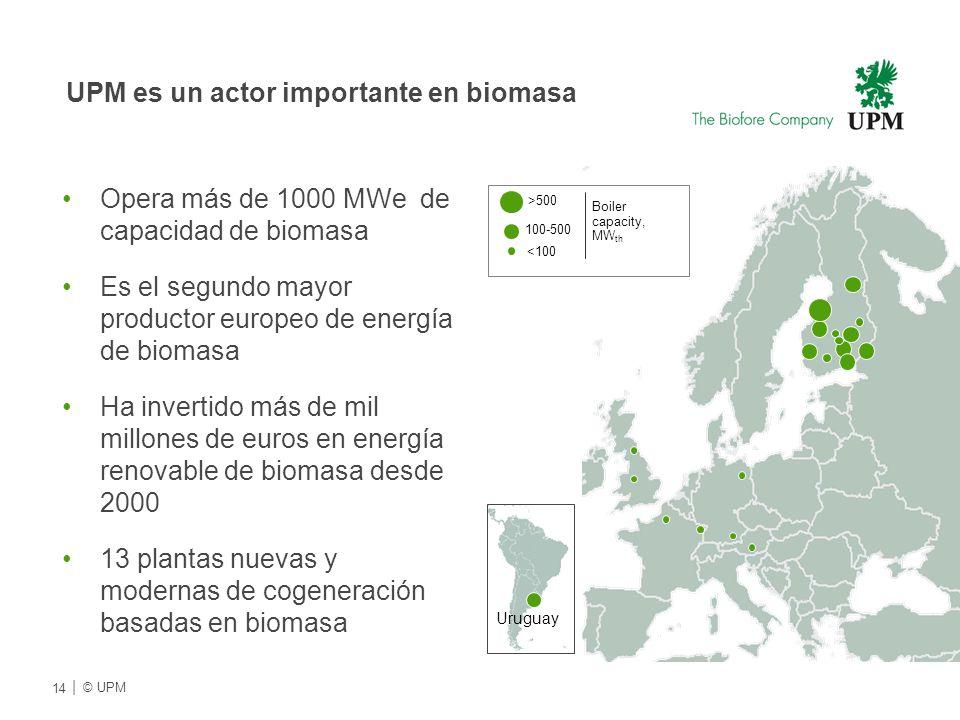 Opera más de 1000 MWe de capacidad de biomasa Es el segundo mayor productor europeo de energía de biomasa Ha invertido más de mil millones de euros en energía renovable de biomasa desde 2000 13 plantas nuevas y modernas de cogeneración basadas en biomasa <100 100-500 >500 Boiler capacity, MW th Uruguay 14 | © UPMU UPM es un actor importante en biomasa