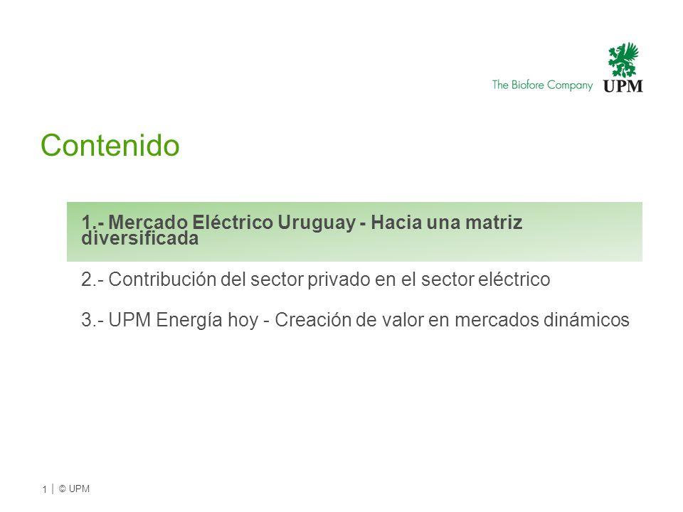 Contenido 1.- Mercado Eléctrico Uruguay - Hacia una matriz diversificada 2.- Contribución del sector privado en el sector eléctrico 3.- UPM Energía ho