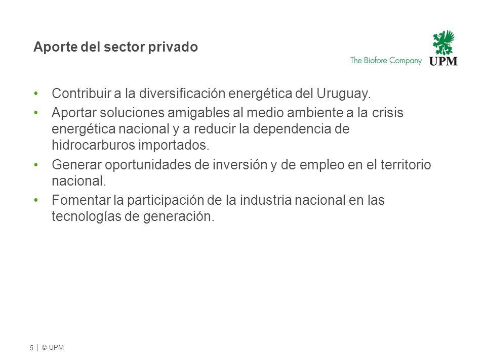 Aporte del sector privado Contribuir a la diversificación energética del Uruguay.
