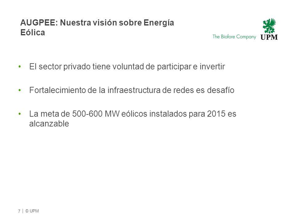 AUGPEE: Nuestra visión sobre Energía Eólica El sector privado tiene voluntad de participar e invertir Fortalecimiento de la infraestructura de redes es desafío La meta de 500-600 MW eólicos instalados para 2015 es alcanzable 7 | © UPMU