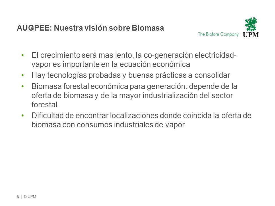 AUGPEE: Nuestra visión sobre Biomasa El crecimiento será mas lento, la co-generación electricidad- vapor es importante en la ecuación económica Hay tecnologías probadas y buenas prácticas a consolidar Biomasa forestal económica para generación: depende de la oferta de biomasa y de la mayor industrialización del sector forestal.