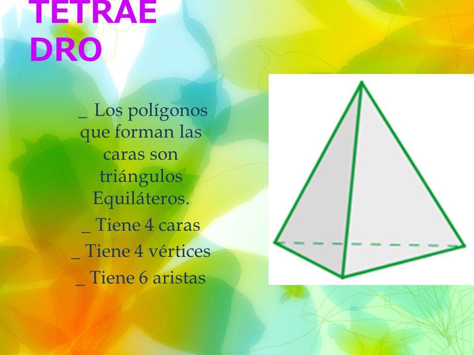 TETRAE DRO _ Los polígonos que forman las caras son triángulos Equiláteros.