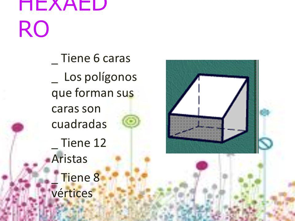 HEXAED RO _ Tiene 6 caras _ Los polígonos que forman sus caras son cuadradas _ Tiene 12 Aristas _ Tiene 8 vértices