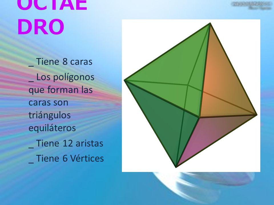 OCTAE DRO _ Tiene 8 caras _ Los polígonos que forman las caras son triángulos equiláteros _ Tiene 12 aristas _ Tiene 6 Vértices