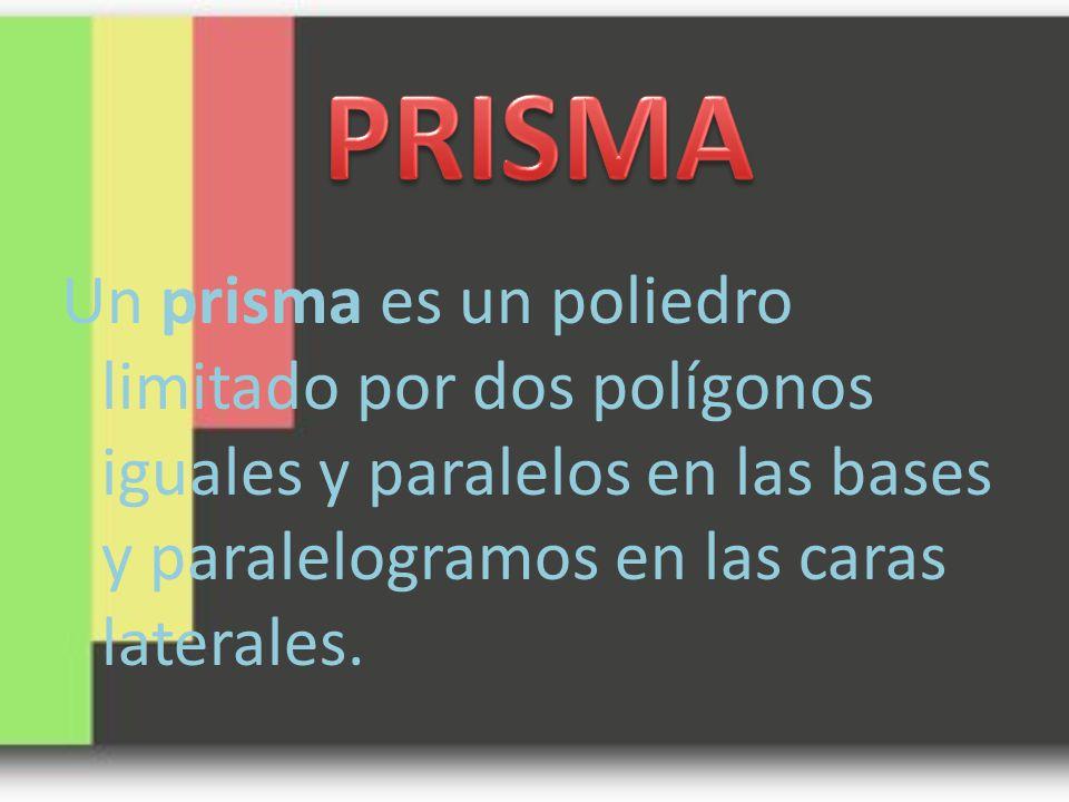 Un prisma es un poliedro limitado por dos polígonos iguales y paralelos en las bases y paralelogramos en las caras laterales.