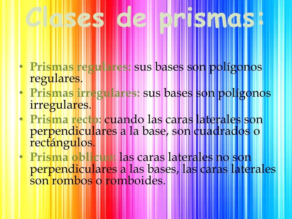 Clases de prismas: Prismas regulares: sus bases son polígonos regulares.