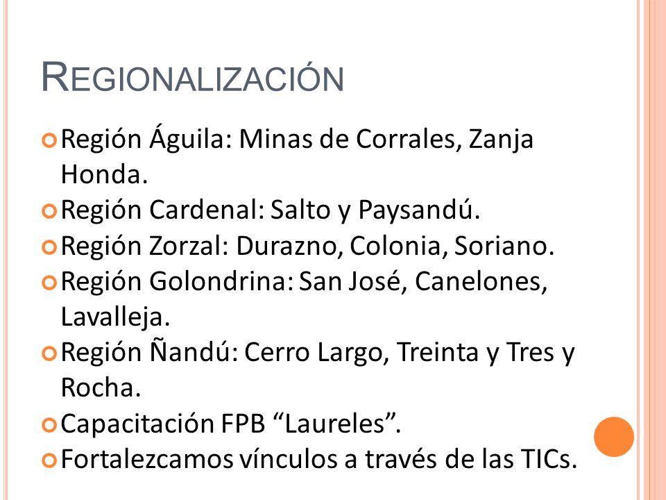 R EGIONALIZACIÓN Región Águila: Minas de Corrales, Zanja Honda. Región Cardenal: Salto y Paysandú. Región Zorzal: Durazno, Colonia, Soriano. Región Go