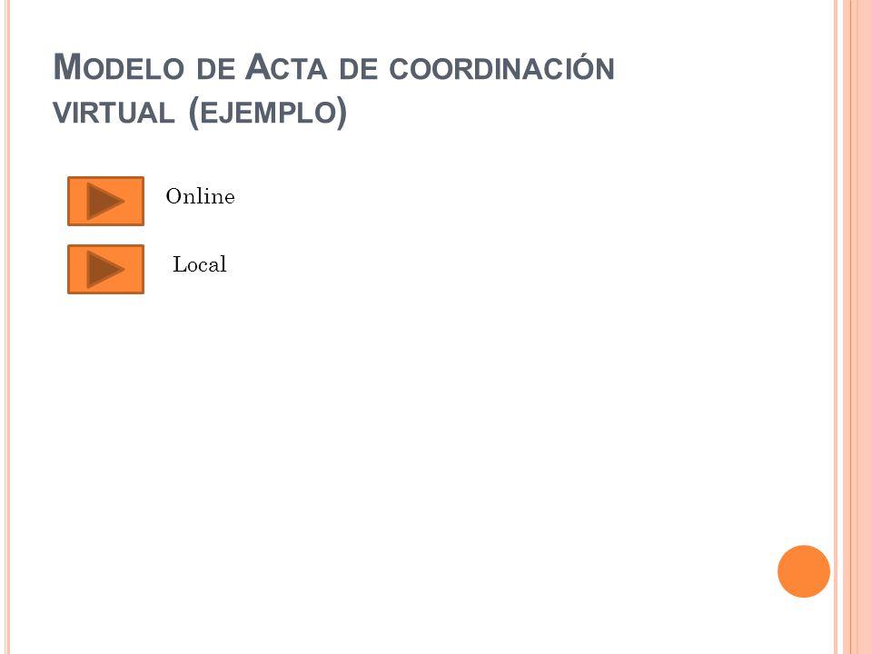 M ODELO DE A CTA DE COORDINACIÓN VIRTUAL ( EJEMPLO ) Online Local