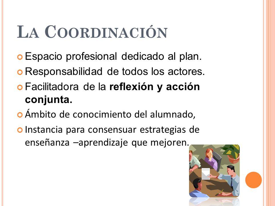 L A C OORDINACIÓN Espacio profesional dedicado al plan. Responsabilidad de todos los actores. Facilitadora de la reflexión y acción conjunta. Ámbito d