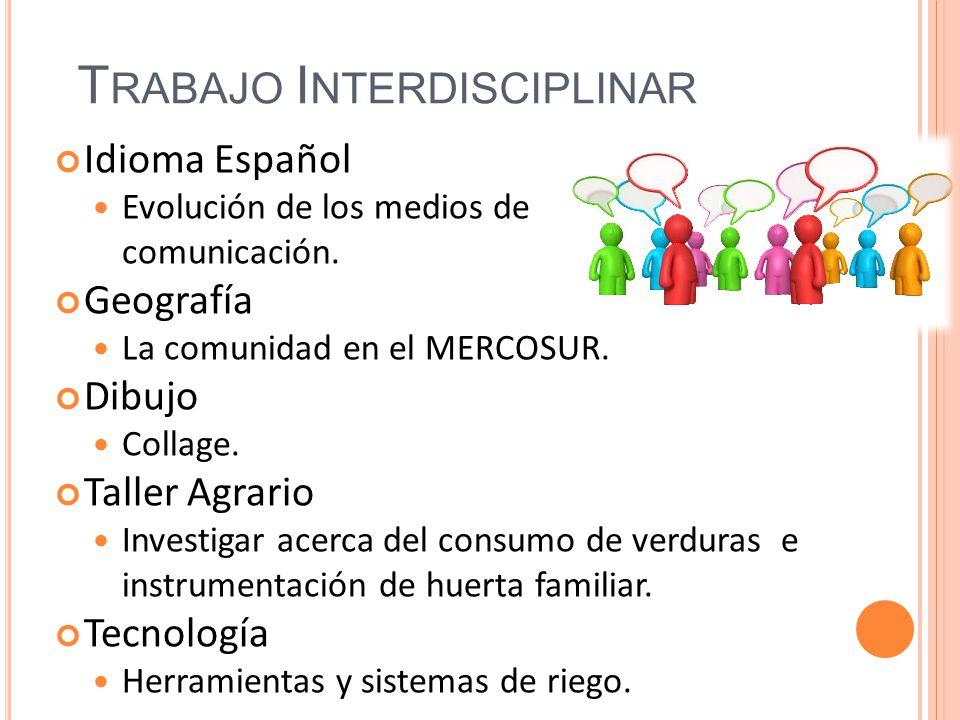 T RABAJO I NTERDISCIPLINAR Idioma Español Evolución de los medios de comunicación. Geografía La comunidad en el MERCOSUR. Dibujo Collage. Taller Agrar