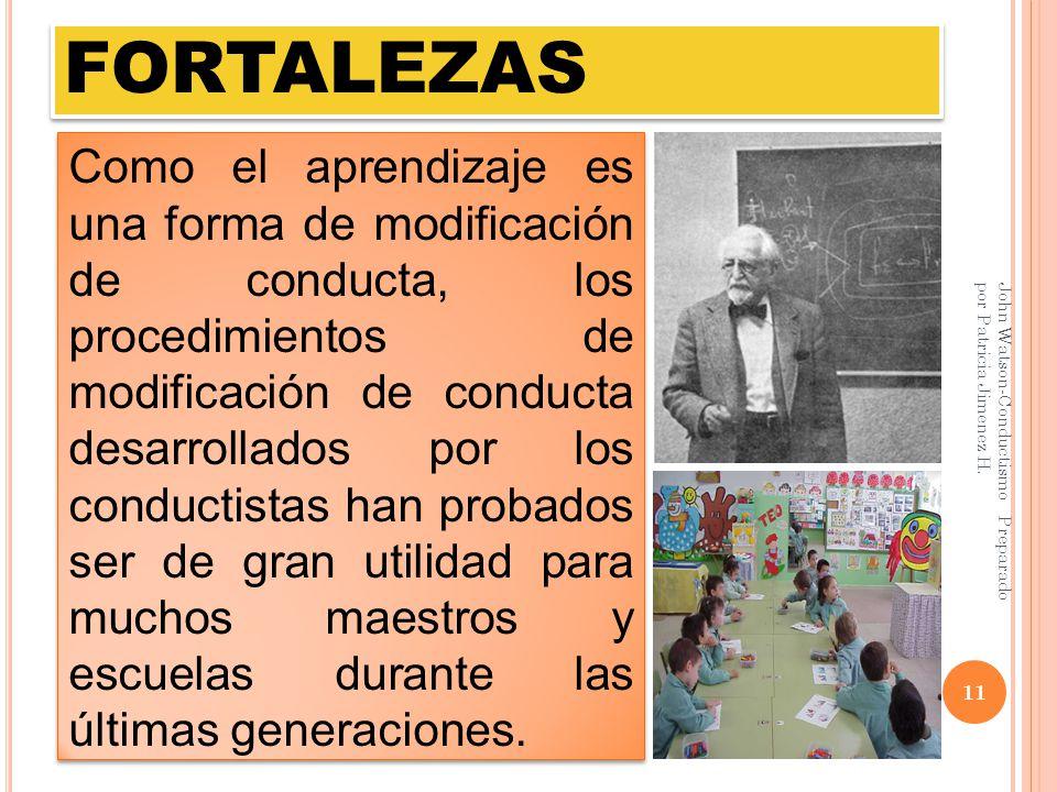 FORTALEZAS John Watson-Conductismo Preparado por Patricia Jimenez H. 11