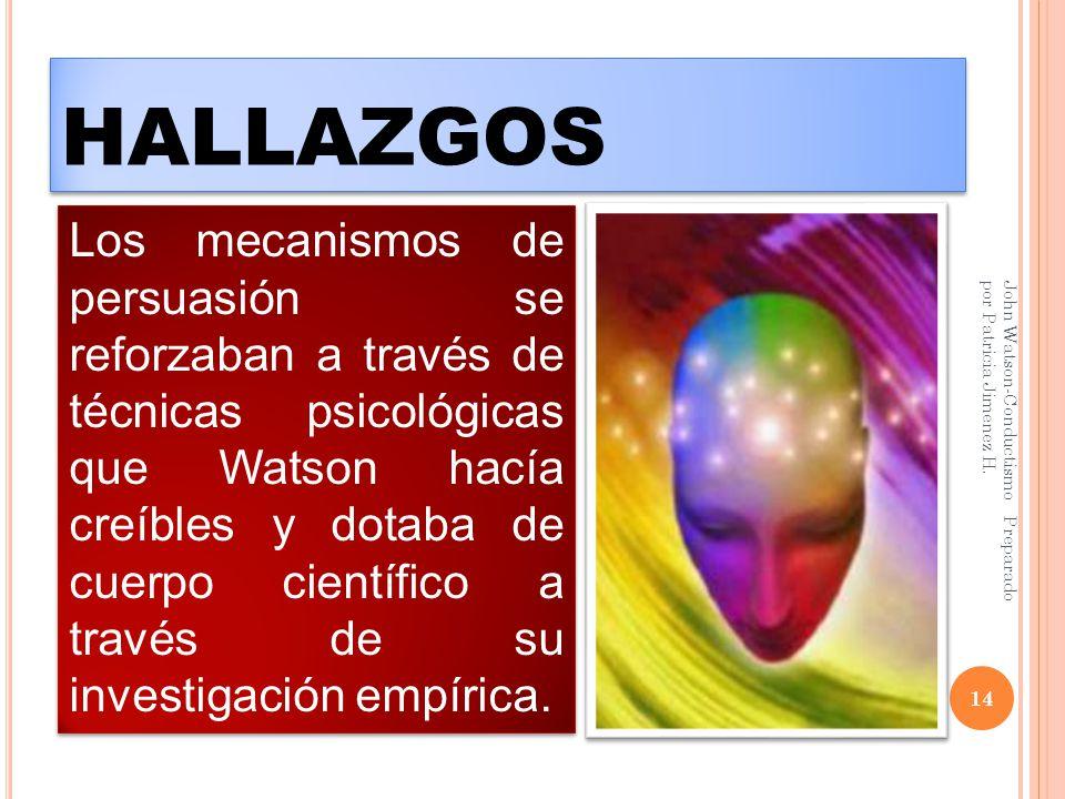 HALLAZGOS 14 John Watson-Conductismo Preparado por Patricia Jimenez H.