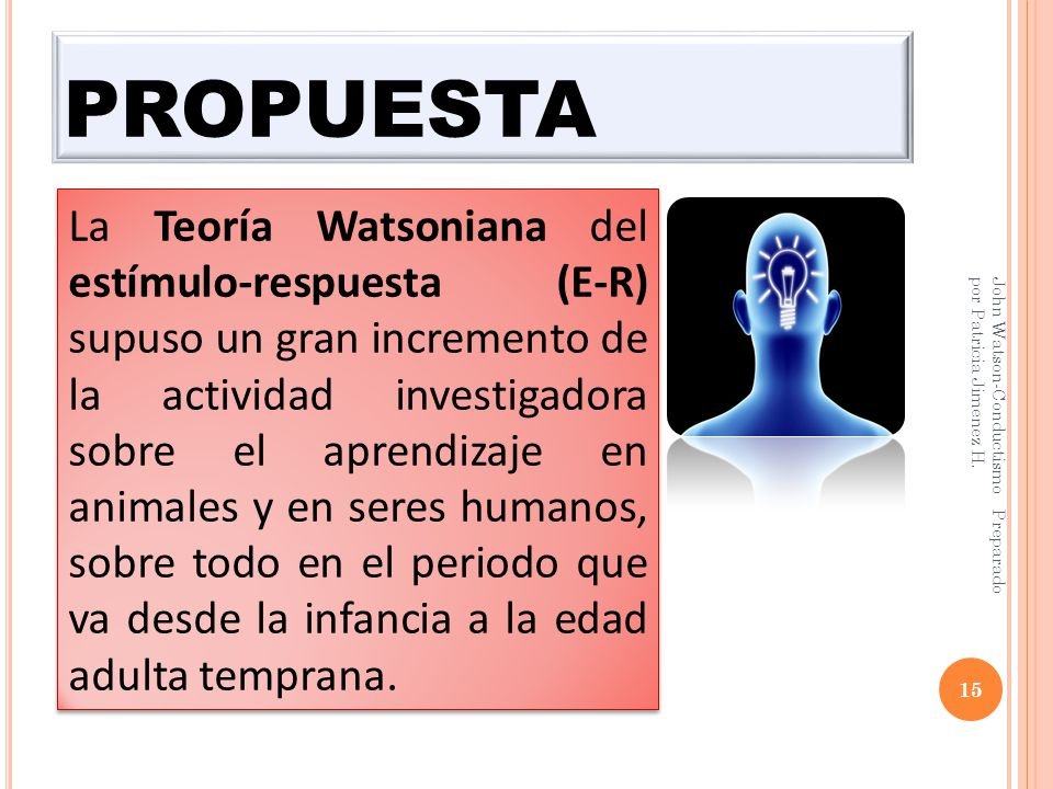 PROPUESTA 15 John Watson-Conductismo Preparado por Patricia Jimenez H.