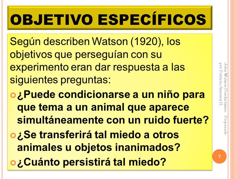 OBJETIVO ESPECÍFICOS John Watson-Conductismo Preparado por Patricia Jimenez H. 7