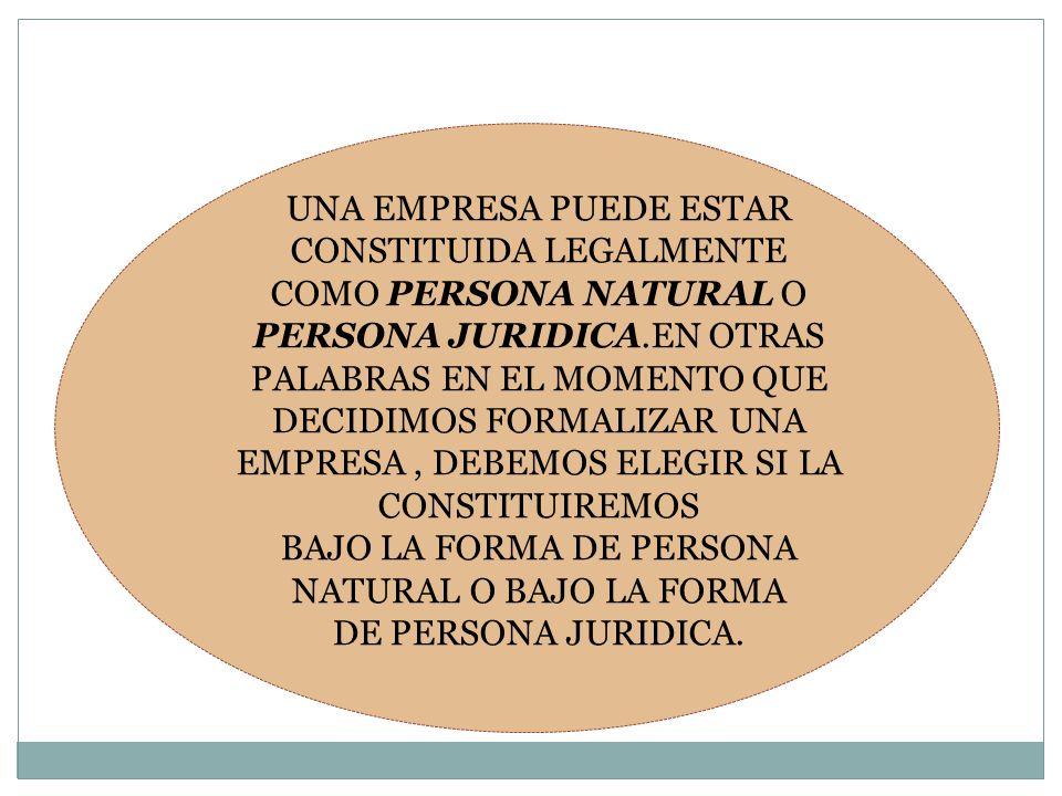 UNA EMPRESA PUEDE ESTAR CONSTITUIDA LEGALMENTE COMO PERSONA NATURAL O PERSONA JURIDICA.EN OTRAS PALABRAS EN EL MOMENTO QUE DECIDIMOS FORMALIZAR UNA EM