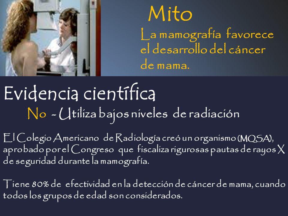 Mito Evidencia científica La mamografía favorece el desarrollo del cáncer de mama. El Colegio Americano de Radiología creó un organismo (MQSA), aproba