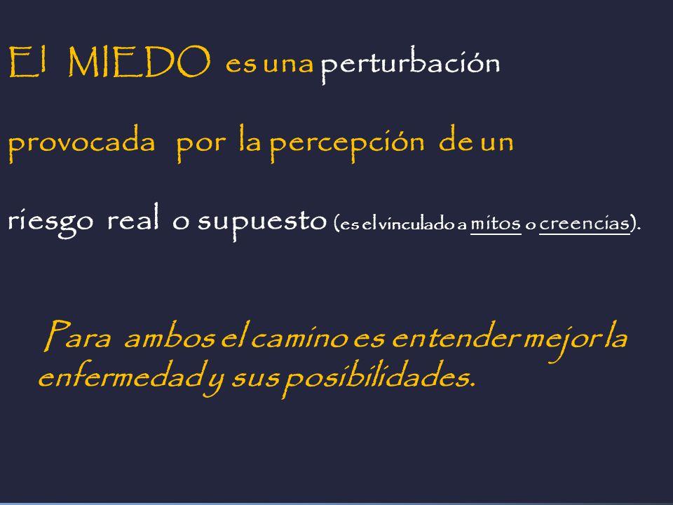 El MIEDO es una perturbación provocada por la percepción de un riesgo real o supuesto (es el vinculado a mitos o creencias ). Para ambos el camino es