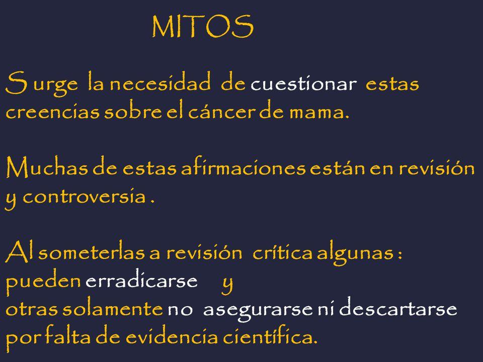 MITOS S urge la necesidad de cuestionar estas creencias sobre el cáncer de mama. Muchas de estas afirmaciones están en revisión y controversia. Al som