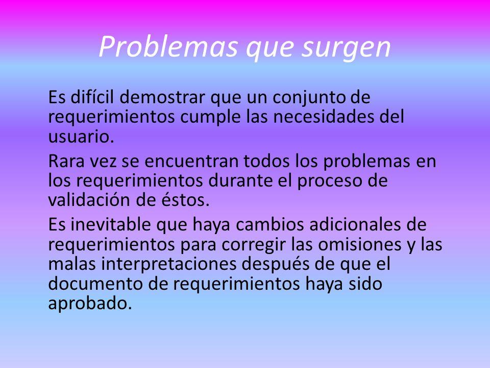 Problemas que surgen Es difícil demostrar que un conjunto de requerimientos cumple las necesidades del usuario.