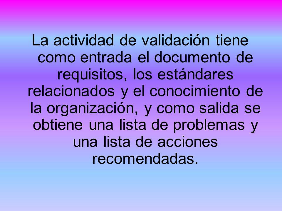La actividad de validación tiene como entrada el documento de requisitos, los estándares relacionados y el conocimiento de la organización, y como salida se obtiene una lista de problemas y una lista de acciones recomendadas.