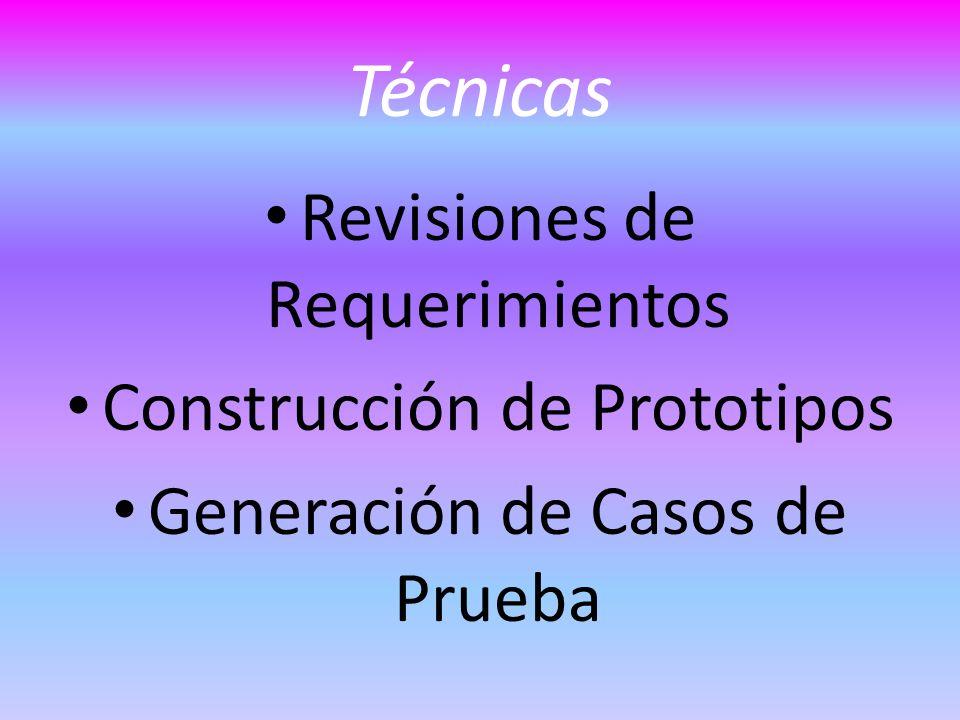 Técnicas Revisiones de Requerimientos Construcción de Prototipos Generación de Casos de Prueba