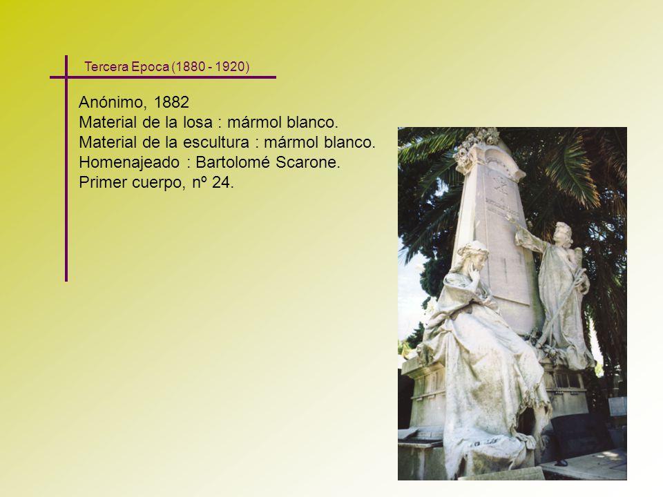 Anónimo, 1882 Material de la losa : mármol blanco. Material de la escultura : mármol blanco. Homenajeado : Bartolomé Scarone. Primer cuerpo, nº 24. Te