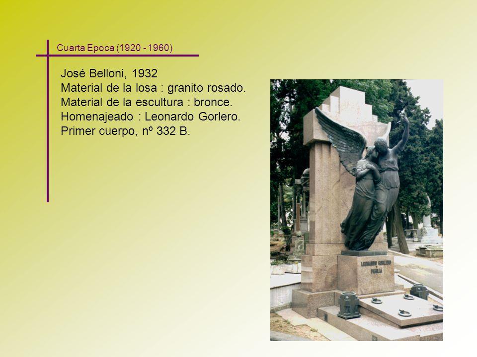 José Belloni, 1932 Material de la losa : granito rosado. Material de la escultura : bronce. Homenajeado : Leonardo Gorlero. Primer cuerpo, nº 332 B. C