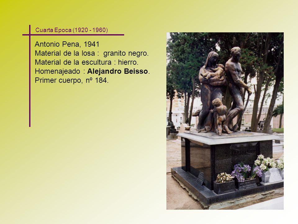 Antonio Pena, 1941 Material de la losa : granito negro. Material de la escultura : hierro. Homenajeado : Alejandro Beisso. Primer cuerpo, nº 184. Cuar
