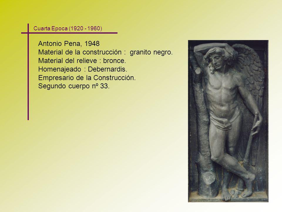 Antonio Pena, 1948 Material de la construcción : granito negro. Material del relieve : bronce. Homenajeado : Debernardis. Empresario de la Construcció