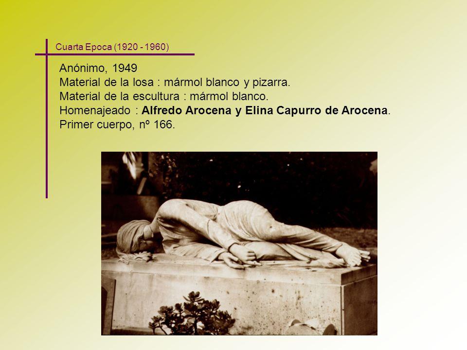 Anónimo, 1949 Material de la losa : mármol blanco y pizarra. Material de la escultura : mármol blanco. Homenajeado : Alfredo Arocena y Elina Capurro d