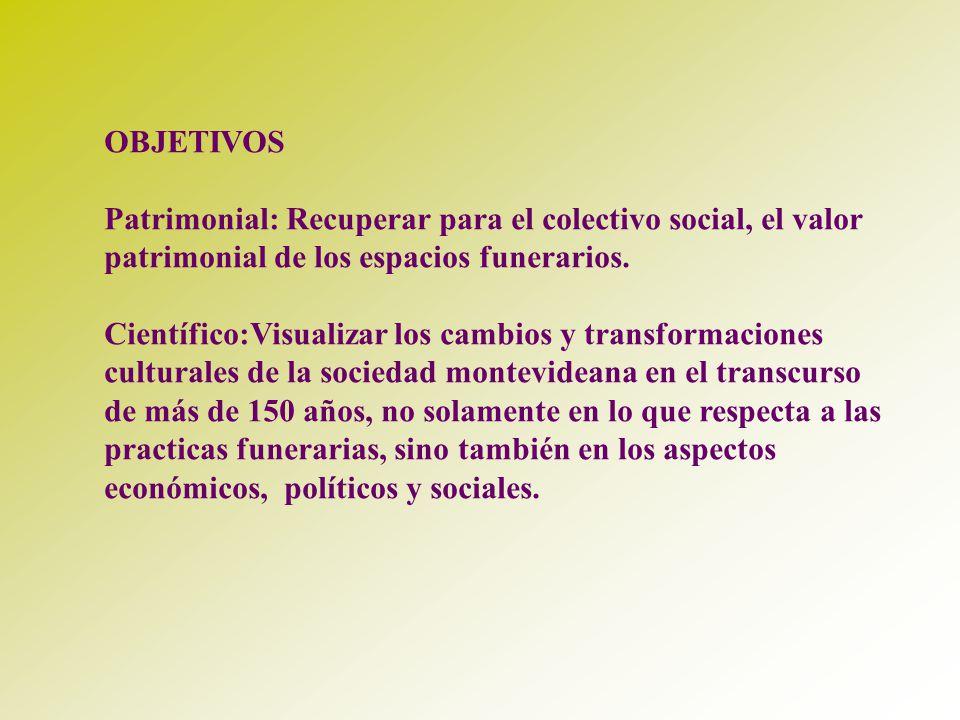 OBJETIVOS Patrimonial: Recuperar para el colectivo social, el valor patrimonial de los espacios funerarios. Científico:Visualizar los cambios y transf