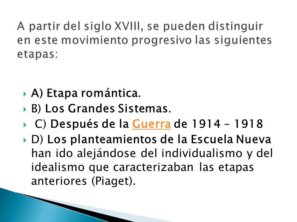 A) Etapa romántica. B) Los Grandes Sistemas. C) Después de la Guerra de 1914 – 1918Guerra D) Los planteamientos de la Escuela Nueva han ido alejándose