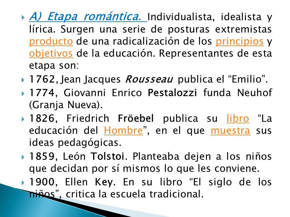 A) Etapa romántica. Individualista, idealista y lírica. Surgen una serie de posturas extremistas producto de una radicalización de los principios y ob
