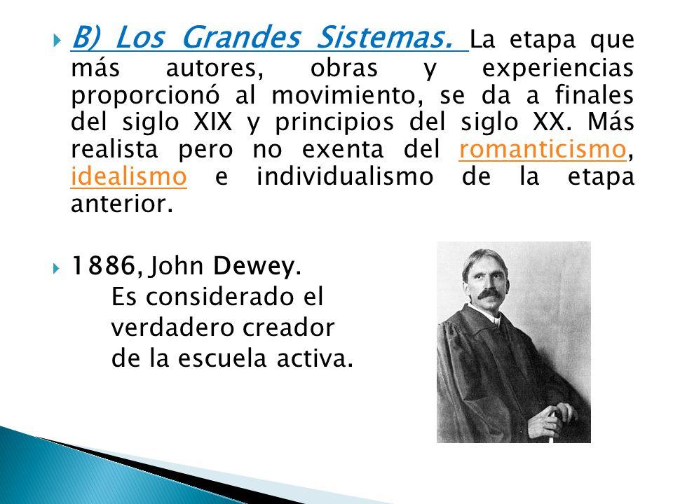 B) Los Grandes Sistemas. La etapa que más autores, obras y experiencias proporcionó al movimiento, se da a finales del siglo XIX y principios del sigl