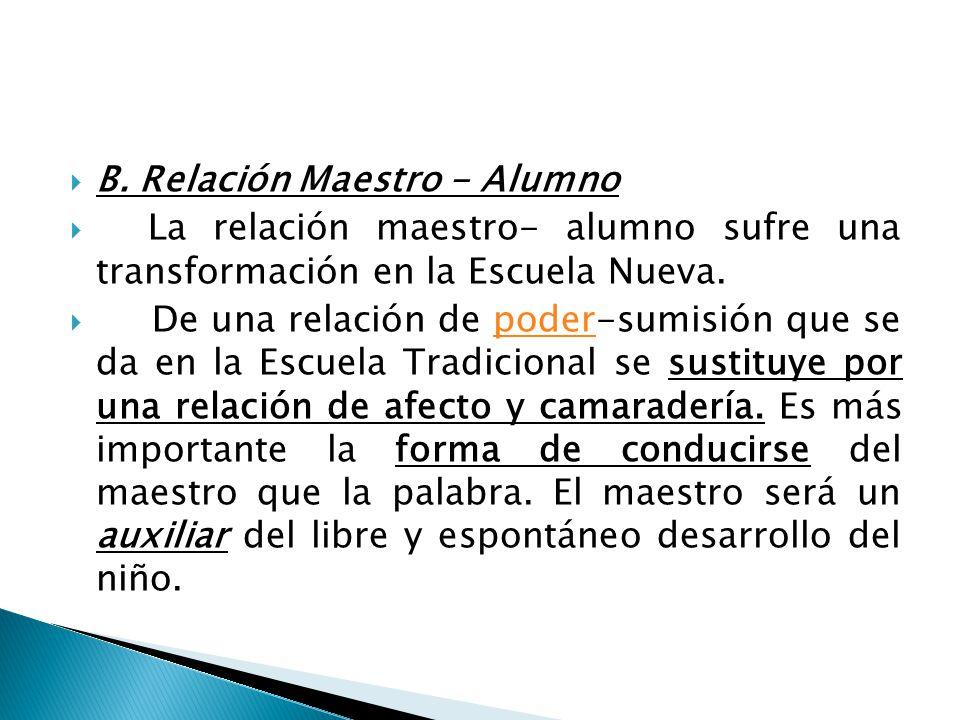 B. Relación Maestro - Alumno La relación maestro- alumno sufre una transformación en la Escuela Nueva. De una relación de poder-sumisión que se da en