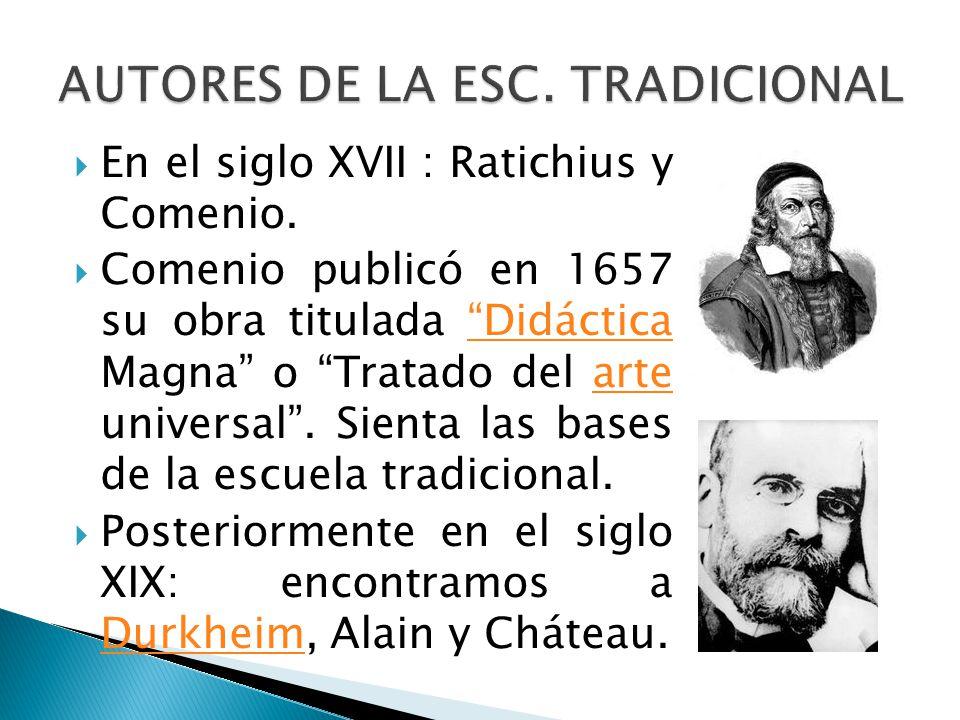En el siglo XVII : Ratichius y Comenio. Comenio publicó en 1657 su obra titulada Didáctica Magna o Tratado del arte universal. Sienta las bases de la
