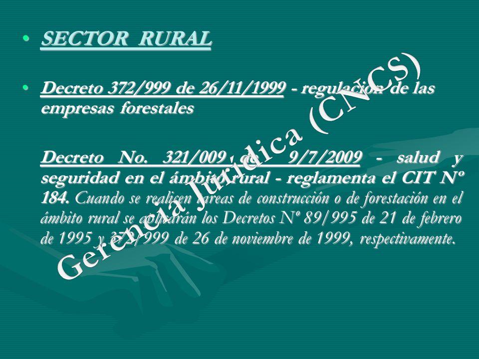 SECTOR RURALSECTOR RURAL Decreto 372/999 de 26/11/1999 - regulación de las empresas forestalesDecreto 372/999 de 26/11/1999 - regulación de las empres