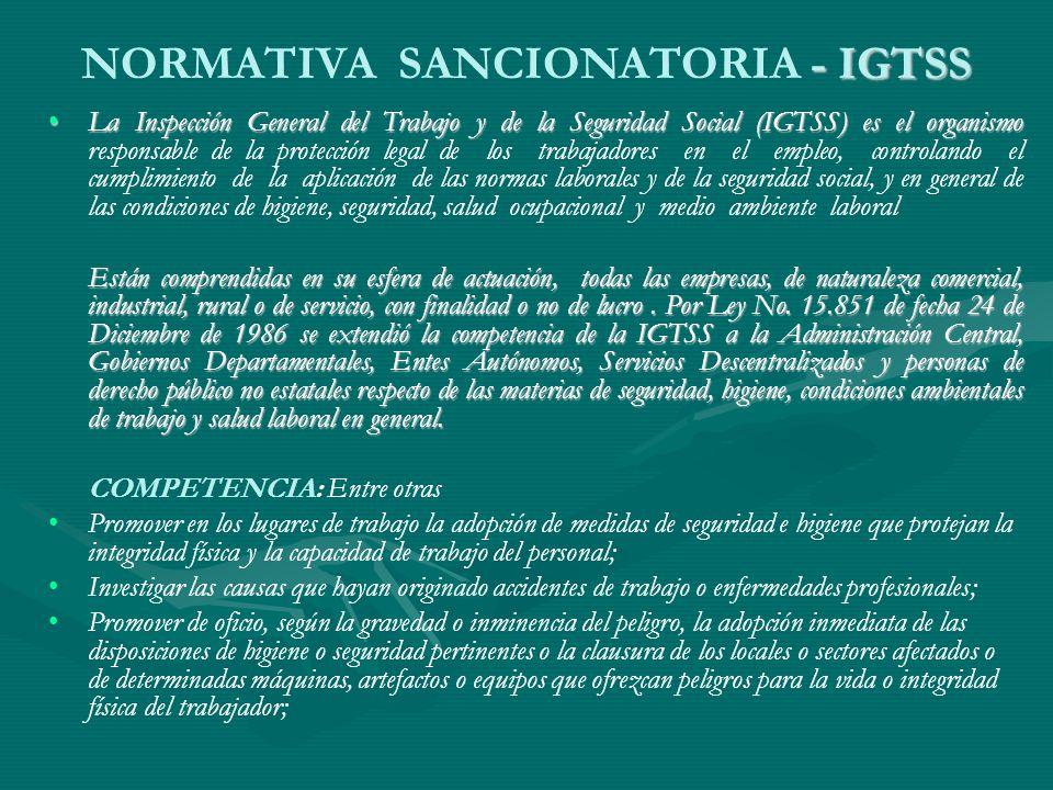 - IGTSS NORMATIVA SANCIONATORIA - IGTSS La Inspección General del Trabajo y de la Seguridad Social (IGTSS) es el organismoLa Inspección General del Tr