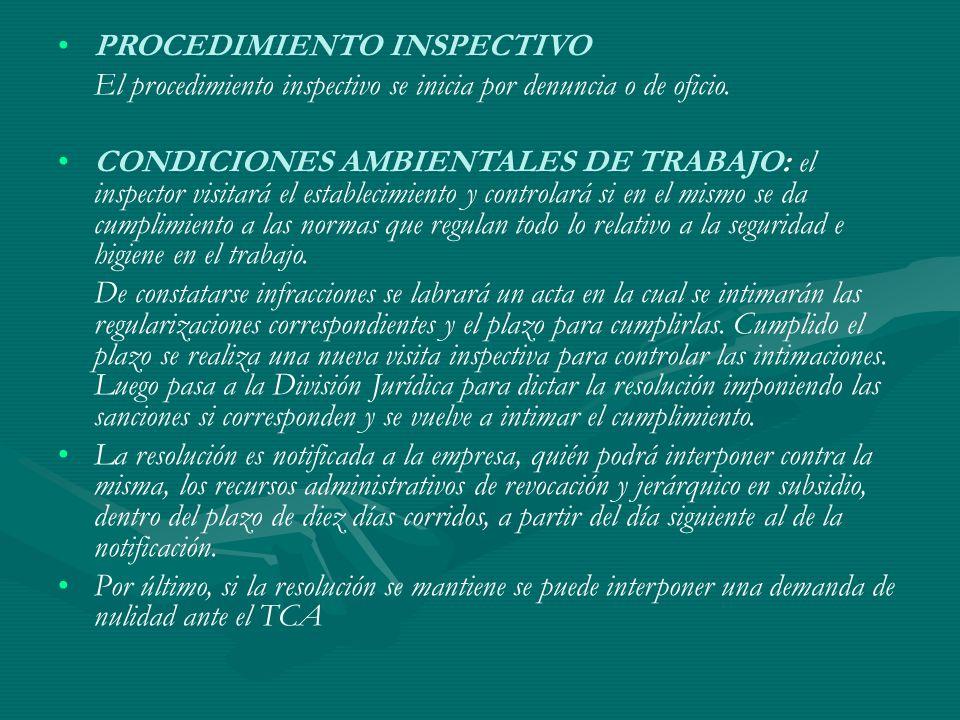 PROCEDIMIENTO INSPECTIVO El procedimiento inspectivo se inicia por denuncia o de oficio. CONDICIONES AMBIENTALES DE TRABAJO: el inspector visitará el