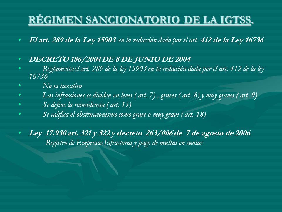 RÉGIMEN SANCIONATORIO DE LA IGTSS. El art. 289 de la Ley 15903 en la redacción dada por el art. 412 de la Ley 16736 DECRETO 186/2004 DE 8 DE JUNIO DE