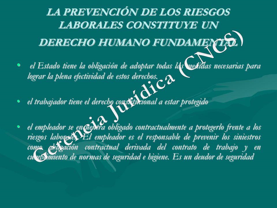 LA PREVENCIÓN DE LOS RIESGOS LABORALES CONSTITUYE UN DERECHO HUMANO FUNDAMENTAL el Estado tiene la obligación de adoptar todas las medidas necesarias