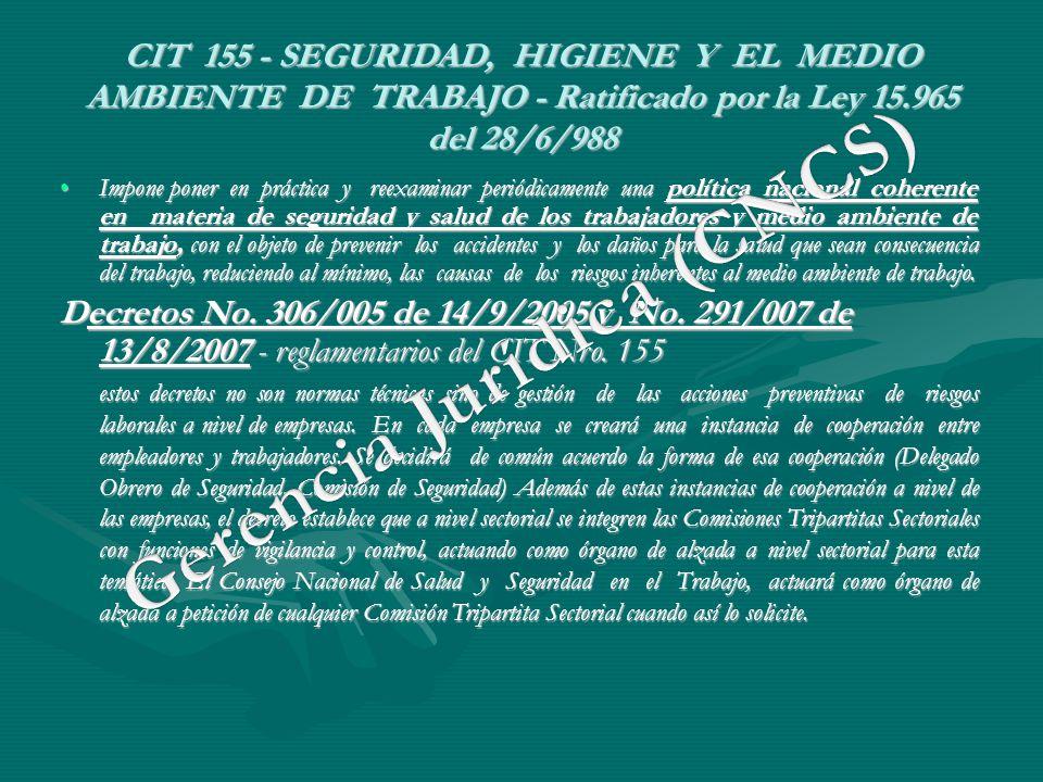 CIT 155 - SEGURIDAD, HIGIENE Y EL MEDIO AMBIENTE DE TRABAJO - Ratificado por la Ley 15.965 del 28/6/988 Impone poner en práctica y reexaminar periódic